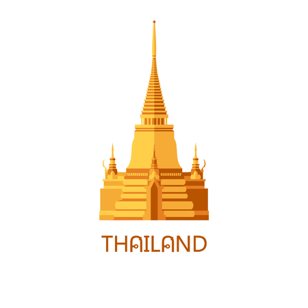 Golden buddhist wat temple in Bangkok Thailand travel landmark vector illustration Illustration