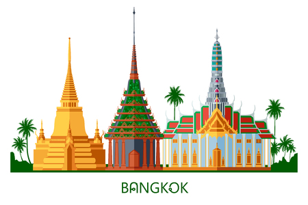 Buddhist wat temple in Bangkok Grand Palace Thailand travel landmark vector illustration
