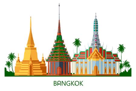 Buddhist wat temple in Bangkok Grand Palace Thailand travel landmark vector illustration