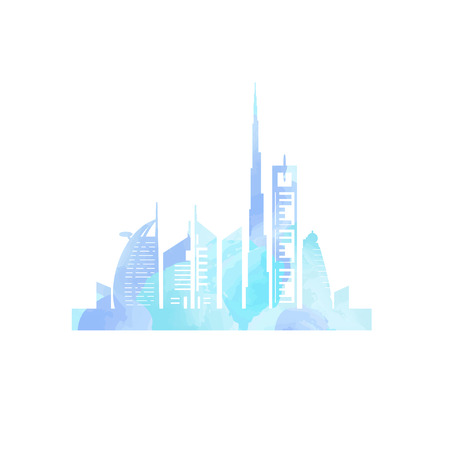 Dubai cityscape with skyscrapers and landmarks watercolor painting vector illustration