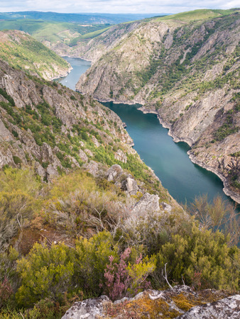 Heathery bank of Sil river in the province of Ourense, Galicia, Spain. Ribeira Sacra deep canyon landscape view from Vilouxe viewpoint. Stock fotó