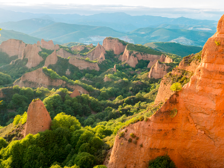 Las Medulas historic gold mining site near the town of Ponferrada in the province of Leon, Castile and Leon, Spain. Spectacular mountain landscape at sunset.