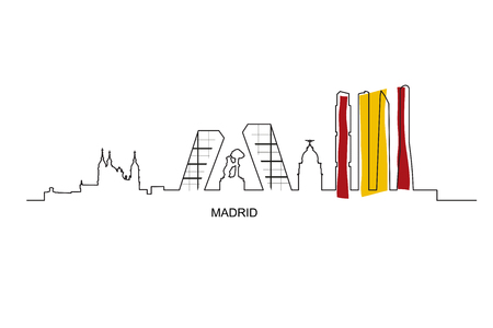 Madrid city landmarks and skyscrapers skyline vector illustration.  Bear and strawberry tree, Cuatro torres, Gate of Europe towers, Almudena Cathedral and Gran Via. Spain flag colors.
