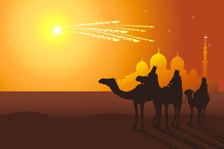 Three Kings: Melchior, Caspar, Balthazar follow the comet from orient vector illustration. Reyes Magos de Oriente holiday camel ride.