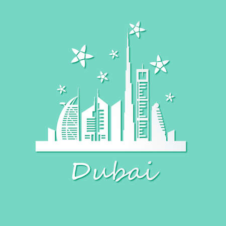 Dubai cityscape with skyscrapers and landmarks paper art style vector illustration