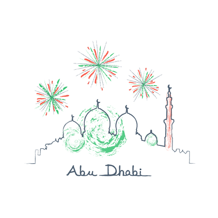 Abu Dhabi cityscape and fireworks in the sky vector illustration uae flag colors