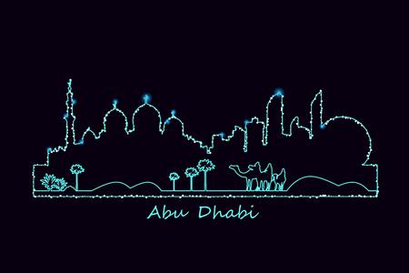 Abu-Dhabi city landmarks skyline illuminated at night and camel riders in the desert vector illustration. Glowing silhouette.  向量圖像