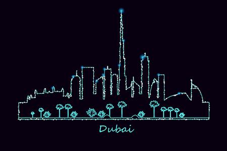 Dubai city skyscrapers and landmarks skyline illuminated at night vector illustration. Glowing silhouette.