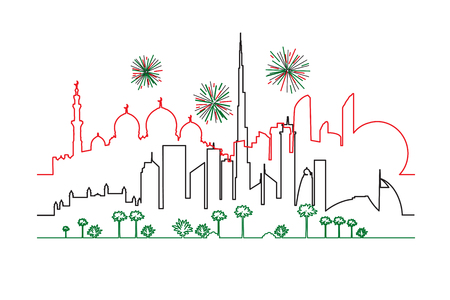 Fireworks in Dubai and Abu-Dhabi cities in national flag colors lines drawings vector illustration. Cityscapes with skyscrapers and UAE landmarks.