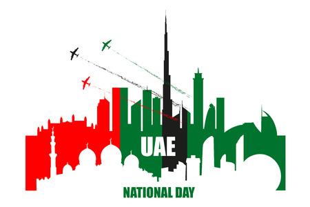 Cartel del día nacional de los Emiratos Árabes Unidos con monumentos, siluetas de rascacielos y aviones que realizan acrobacias aéreas en la ilustración de vector de colores de la bandera nacional. Horizontes de las ciudades de Dubai y Abu-Dhabi.