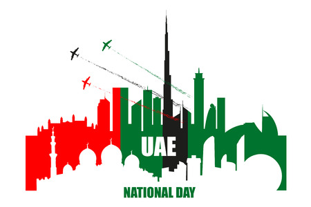 UAE National Day poster with landmarks, skyscrapers silhouettes and planes performing aerobatics in national flag colors vector illustration. Dubai and Abu-Dhabi cities skylines.