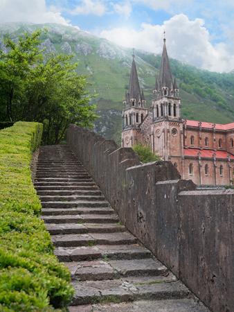 Stone steps to the Basilica of Santa Maria la Real de Covadonga in Asturias North Spain