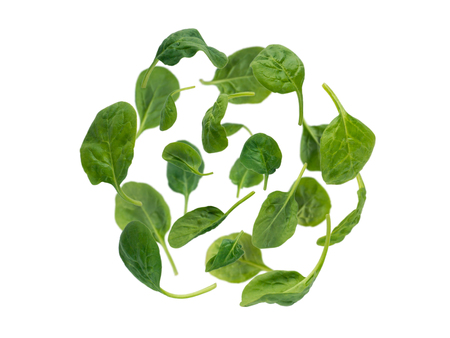 Flying green spinach leaves spherical form heap isolated on white
