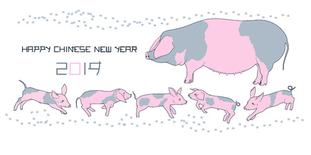 Pig and piglets family. Happy chinese new 2019 year gift card. Big spotted sow and funny baby piggies.