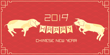 Two piglets holding flag garland on the dragon scale pattern. Happy chinese new year 2019 vector illustration. Ilustrace