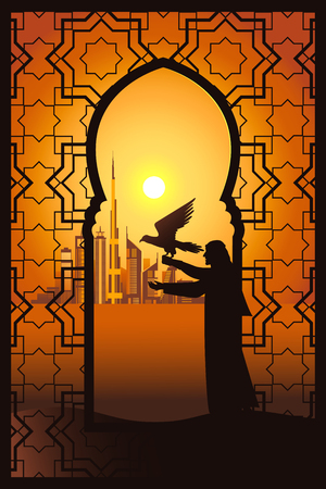 Falconer at the sunset in the desert on the Dubai city background vector illustration. View through traditional arabesque window. Vectores