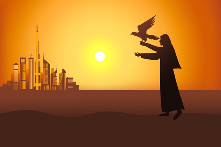 Falconer at the sunset in the desert on the Dubai city background vector illustration