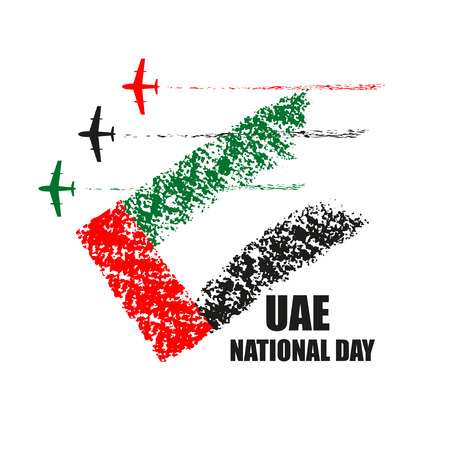 UAE National Day poster with planes performing aerobatics in national flag colors vector illustration.