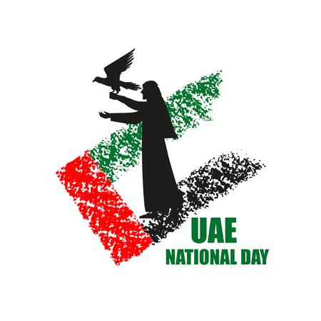 Cartel del día nacional de los Emiratos Árabes Unidos con silueta de cetrero en la ilustración de vector de fondo de bandera nacional. Caza de halcones.