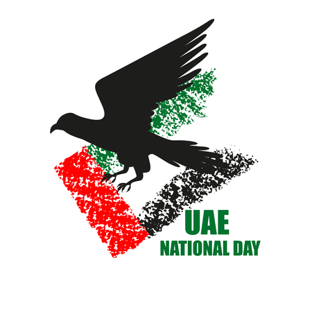 UAE National Day poster with falcon silhouette on national flag background vector illustration. Falcon hunting. Illustration