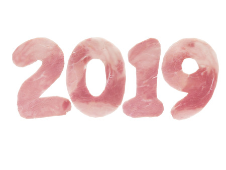 2019 year digits made of the pork ham as a symbol of new year isolated on white. Animal chinese horoscope.