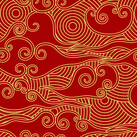 Chinese traditional style clouds and circles scale red and gold seamless pattern