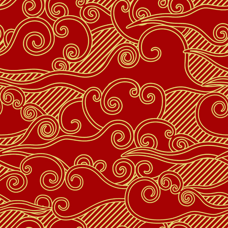 Chinese traditional style clouds and rain red and gold seamless pattern