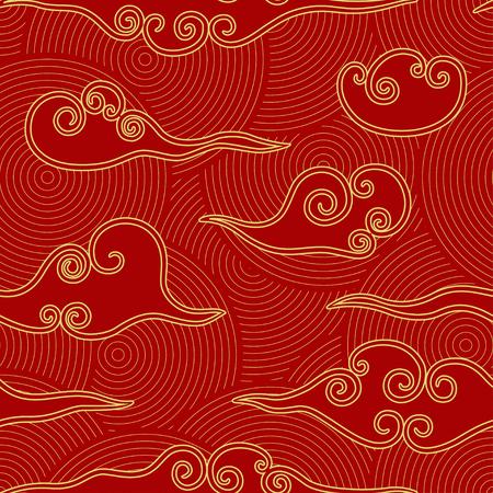 Chiński styl chmury czerwony i złoty wzór bez szwu