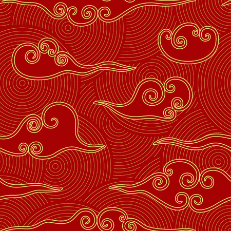 Nubes de estilo chino rojo y dorado de patrones sin fisuras