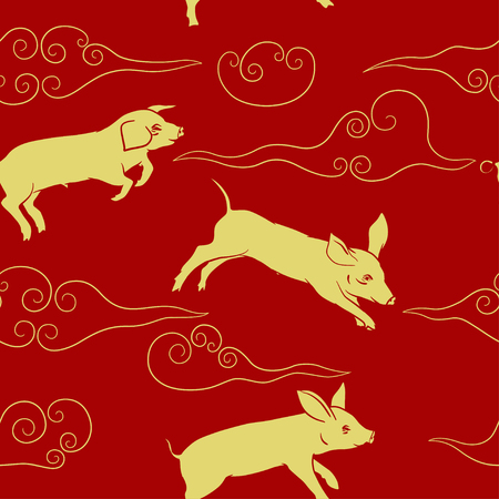 Pigs and clouds red and gold seamless pattern chinese new year 2019 vector illustration.