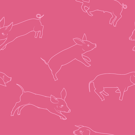Pigs seamless pattern chinese new year 2019 vector illustration. Illustration