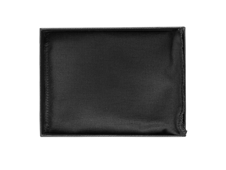 Black open gift or jewelry rectangular box with textile cloth inside isolated on white. Reklamní fotografie - 117093252