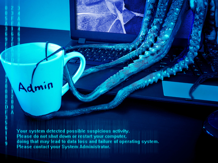 Cyber security concept. Monstrous computer virus seize system daministartors mug. Laptop with broken screen infected by malware. Data loss danger.