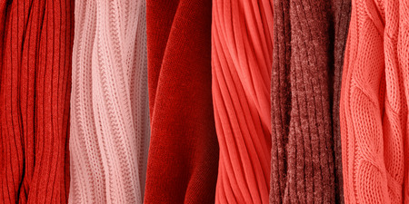 Coral palette for fall and winter 2019. Fashion color trends. Knitted clothes fabric samples.