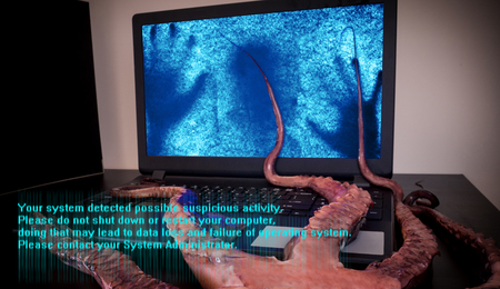 Computer virus concept. Laptop with man inside seized by disgusting monster with long sticky tentacles. Data loss danger. Stock Photo - 117093628