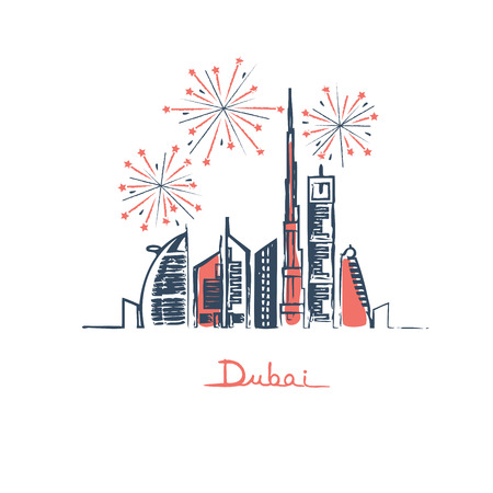 Dubai cityscape with skyscrapers and landmarks and fireworks in the sky vector illustration Иллюстрация