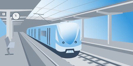 Train stand at the railway station waiting for departure vector illustration  イラスト・ベクター素材