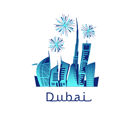 Dubai cityscape with skyscrapers and landmarks and colorful fireworks in the sky vector illustration. Holiday celebration. Pyrotechnic show explosions over city skyline.