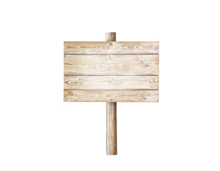Wooden rectangular planks signboard on the pole isolated on white