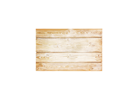 Natural textured wooden rectangular planks signboard isolated on white