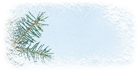 Christamas tree branch covered with snowfall in the corner of horizontal banner background.  写真素材