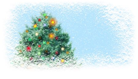 Christamas tree with colorful lights covered with snowfall on the horizontal banner background.  Gift card.
