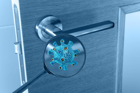 Virus cell on the door handle magnified image. Transmission of the infection medical concept.