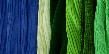 Best warm green colors matching for classic blue. Fashion color trends for year 2020. Knitted clothes fabric samples. Stock fotó