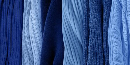 Classic blue palette for spring 2020. Fashion color trends. Knitted clothes fabric samples.