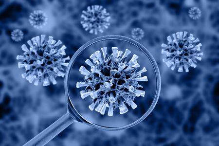 Virus cell view through a magnifying glass. Coronavirus concept.
