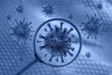 Coronavirus cell view through a magnifying glass. Covid-19 concept.