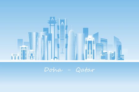 Doha city skyscrapers and landmarks vector illustration. State of Qatar capital.