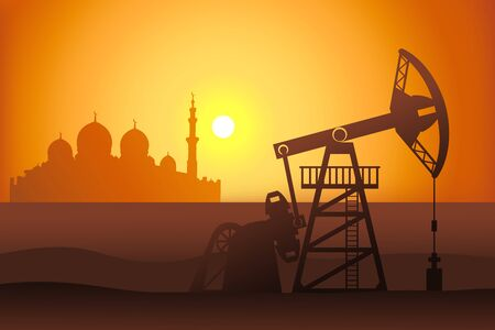 Petroleum pumpjack and mosque silhouette vector illustration. Oil well in arabian desert.