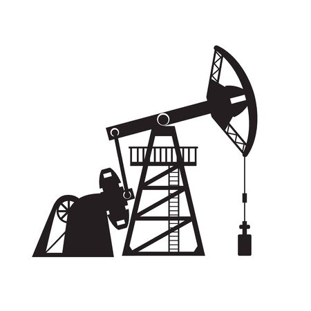 Petroleum pumpjack silhouette vector illustration. Oil well.